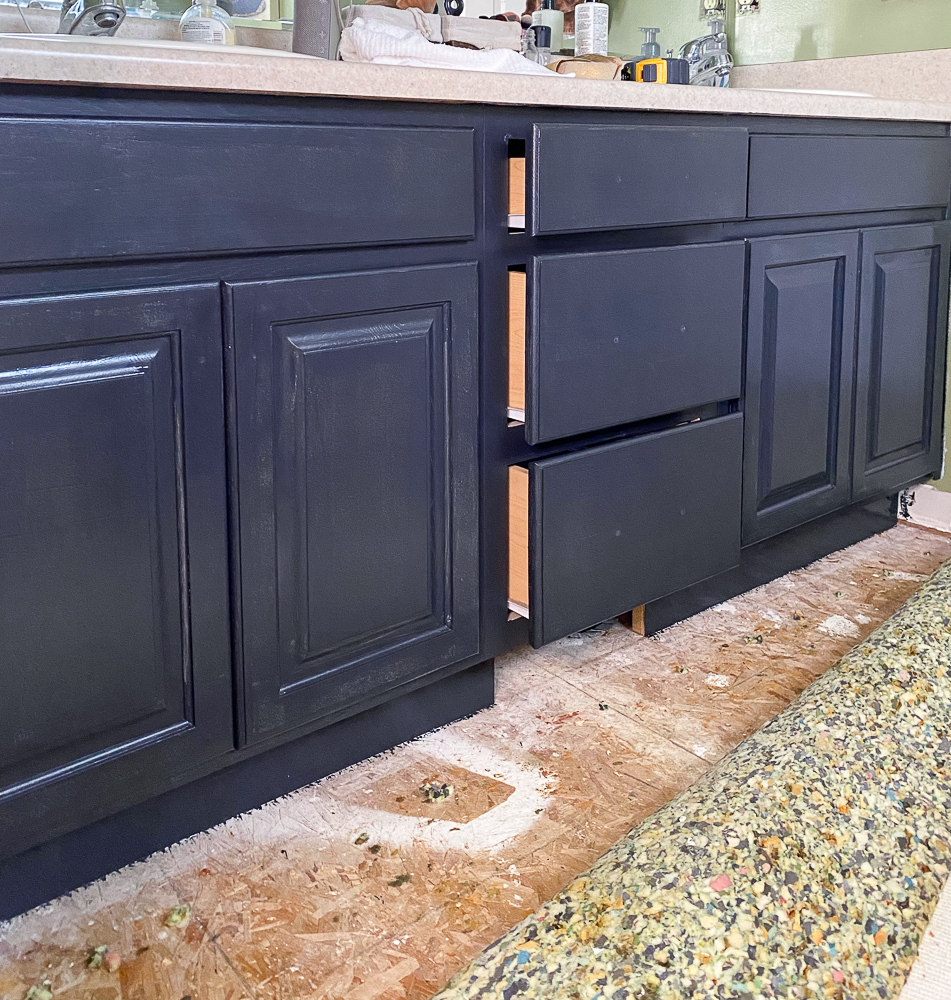 black painted bathroom cabinets