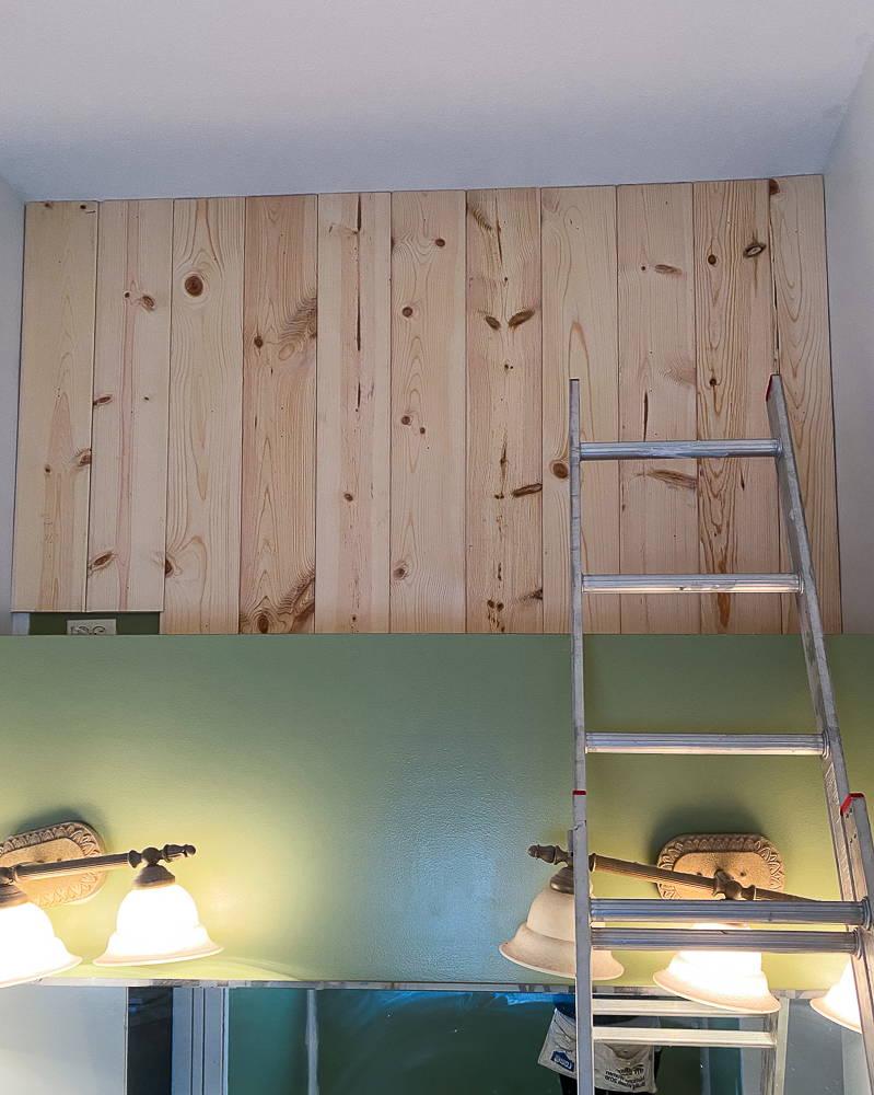 vertical shiplap in master bathroom project