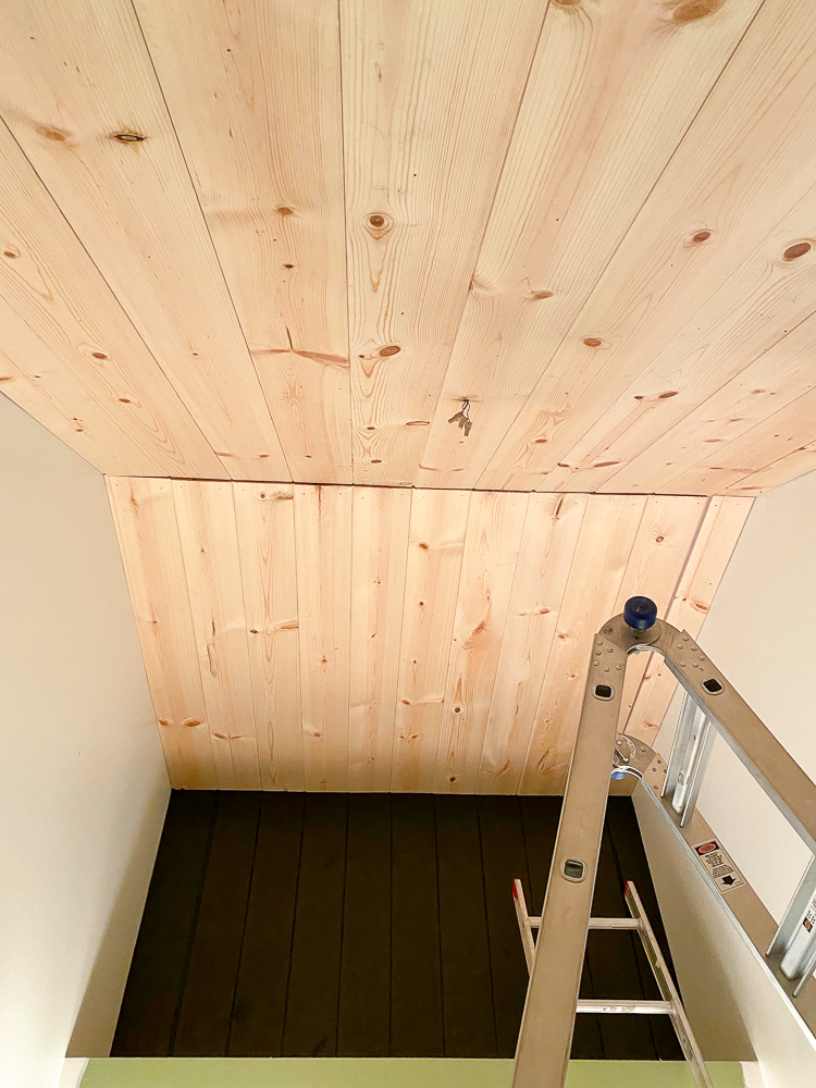 Bathroom ceiling with carsiding