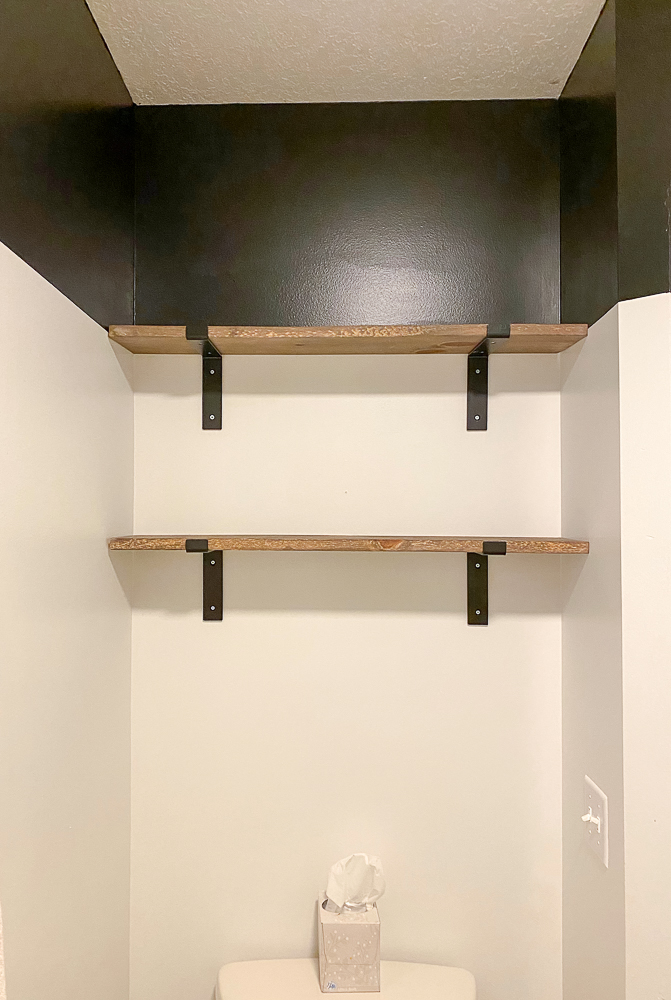 floating shelves in master bathroom