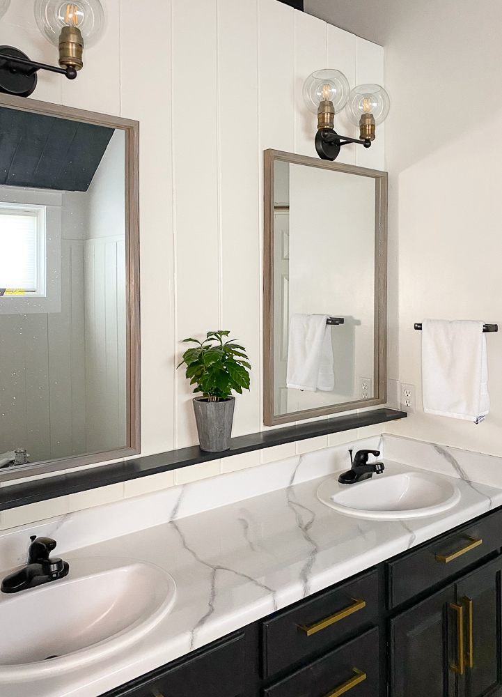 Master bathroom with 2 mirrors a shelf and plant