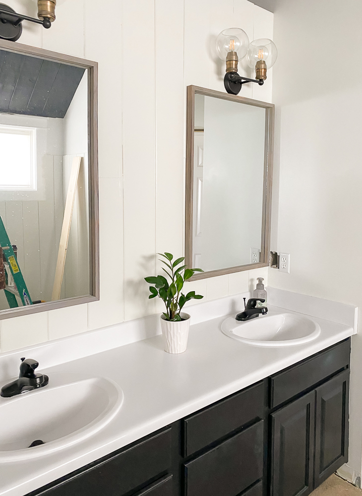 Painted countertops with plant-master bathroom makeover progress