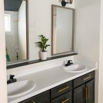 master bathroom countertops with shelf and plant
