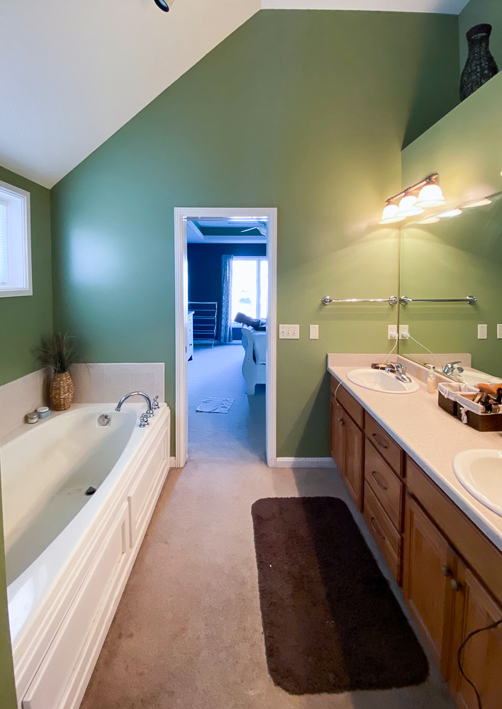 Before picture of master bathroom