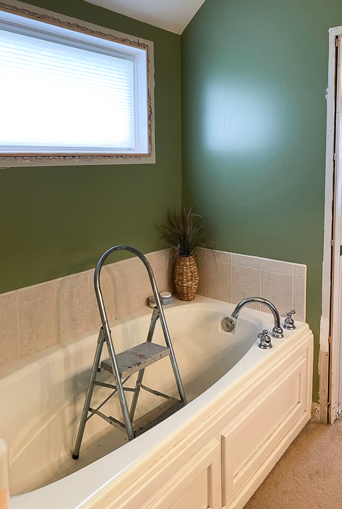 Tub with window above it and trim removed
