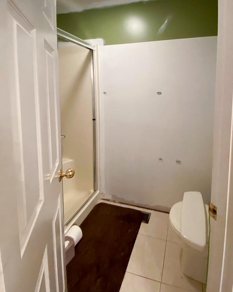 Water closet with bottom of wall painted white