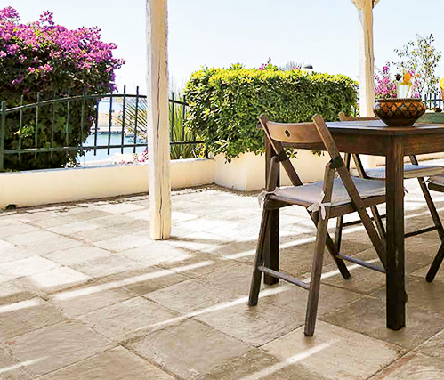 outdoor space with tile flooring