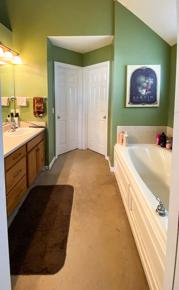 bathroom with green walls, garden tub and double sinks, and carpeted floors