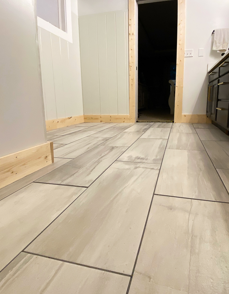 tile laid for bathroom flooring project