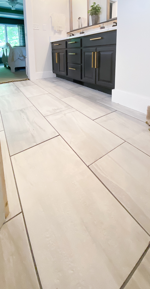 master bathroom mediterranea porcelain tile floor with white walls