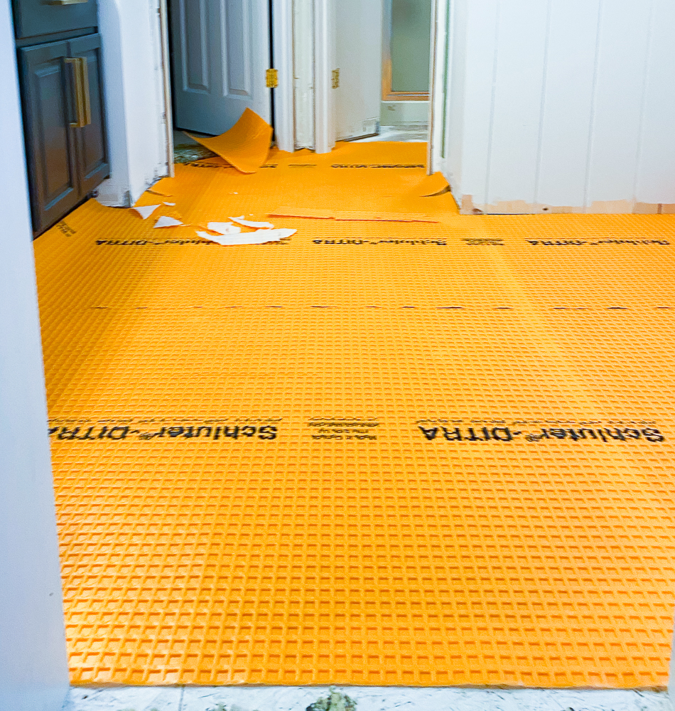 ditra laid down in master bathroom for tiling job