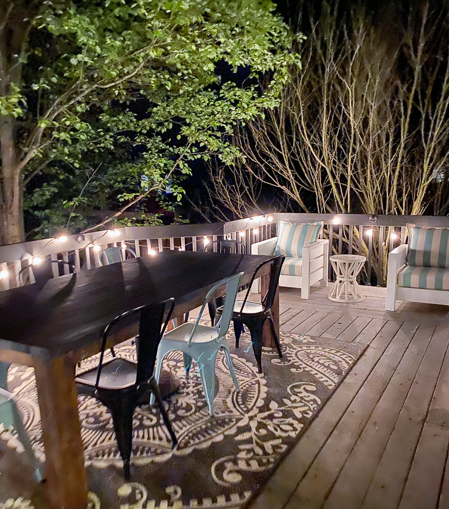 Outdoor patio with furniture made from lumber