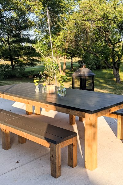outdoor farmhouse wood table with bench