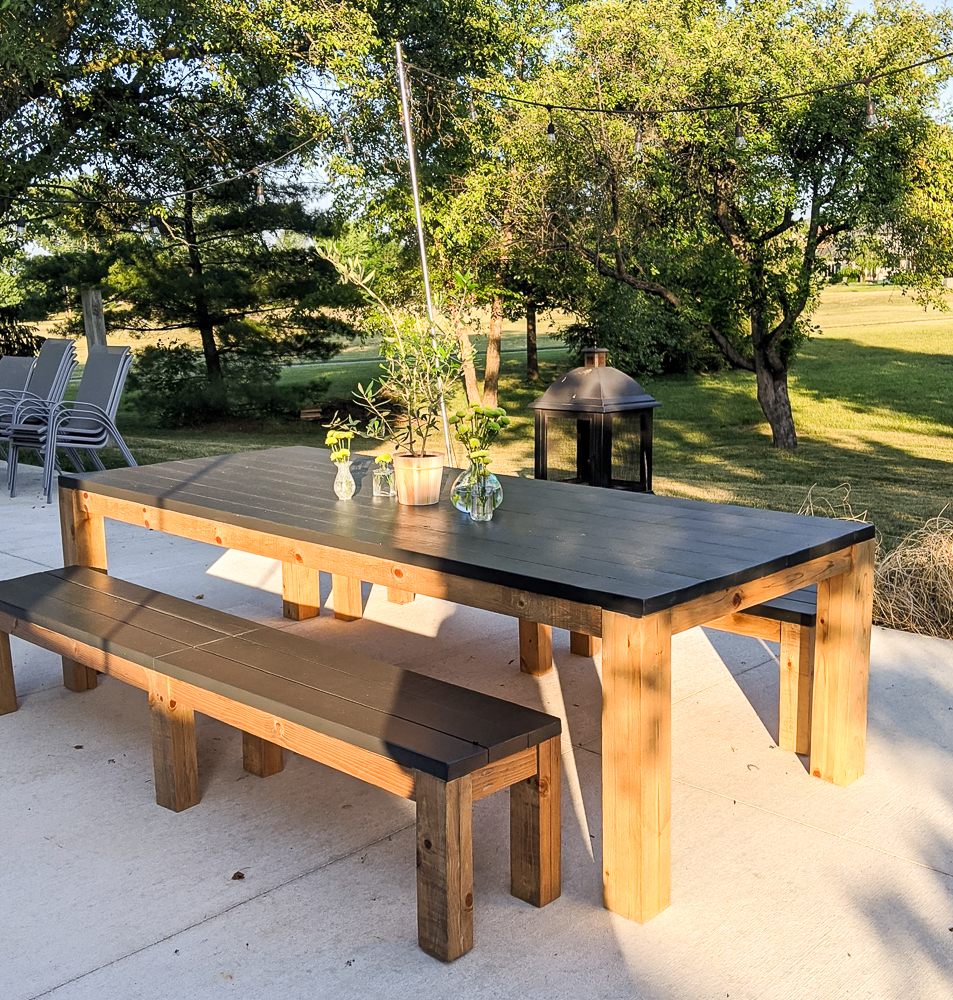 outdoor farmhouse table with bench