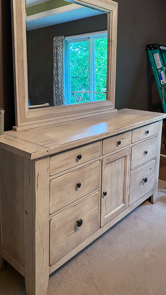 Distressed dresser white with mirror attached