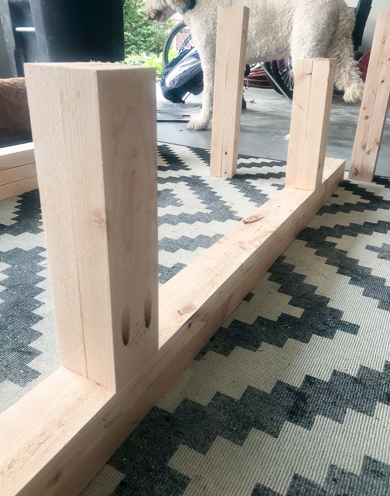 2x4's jigged together for legs of furniture