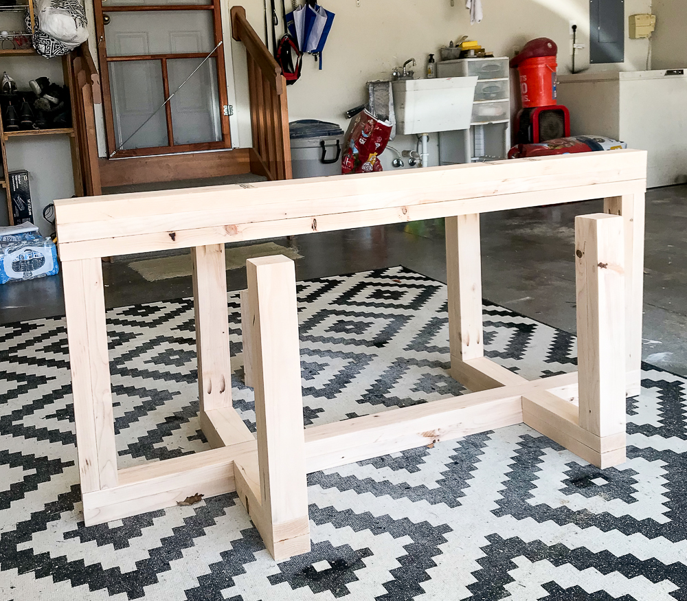 Base of large desk made of 2x4's
