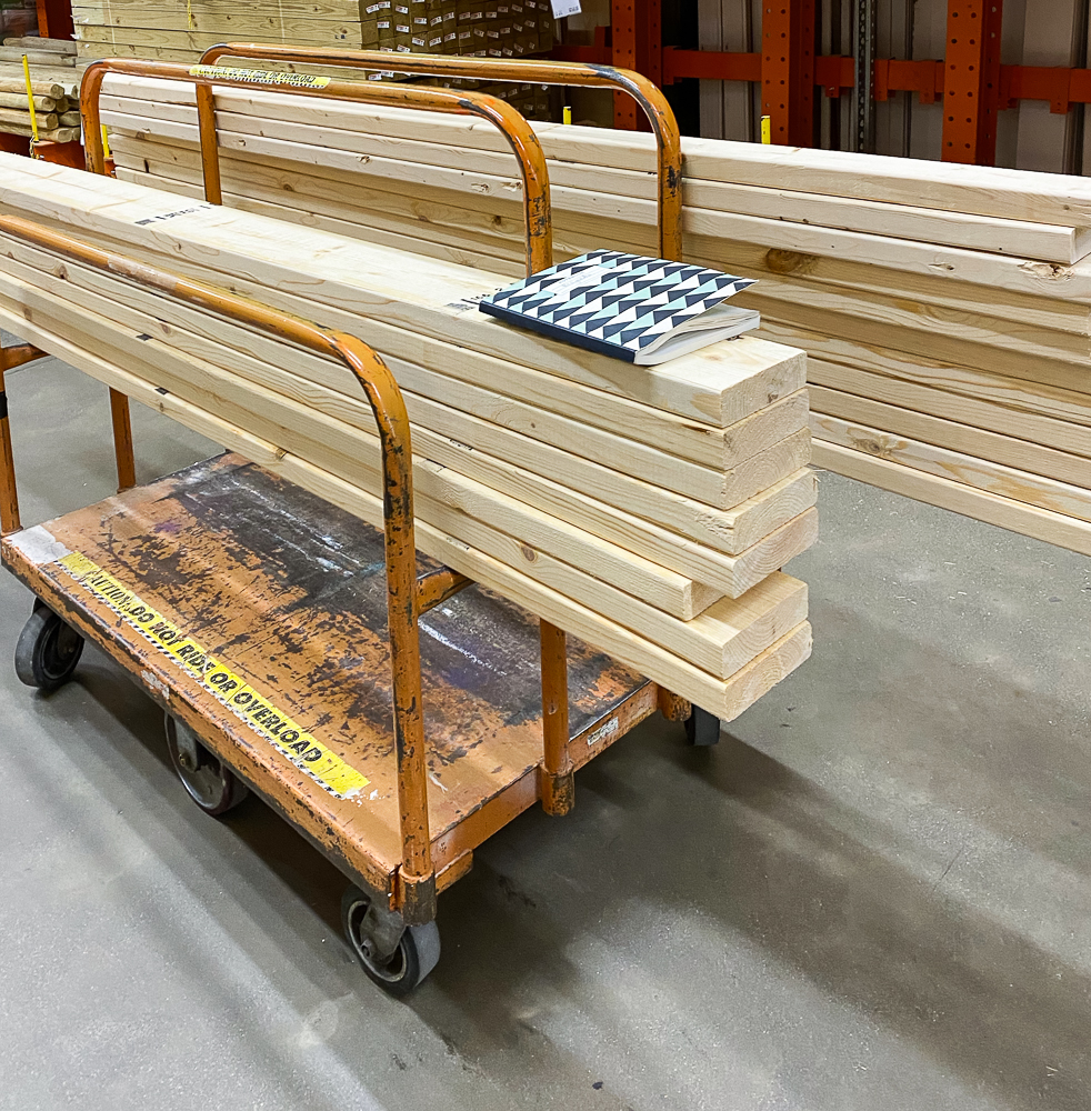 lumber on a cart at home depot