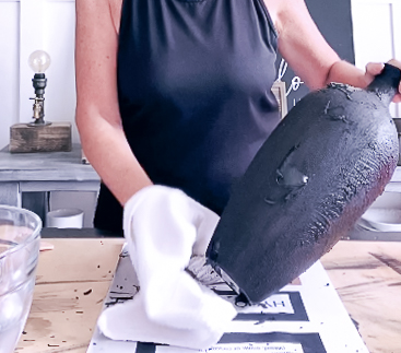 black paint coming off vase