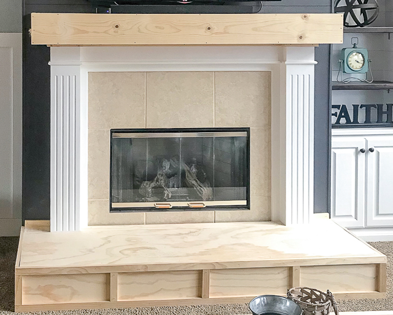 fireplace hearth with trim