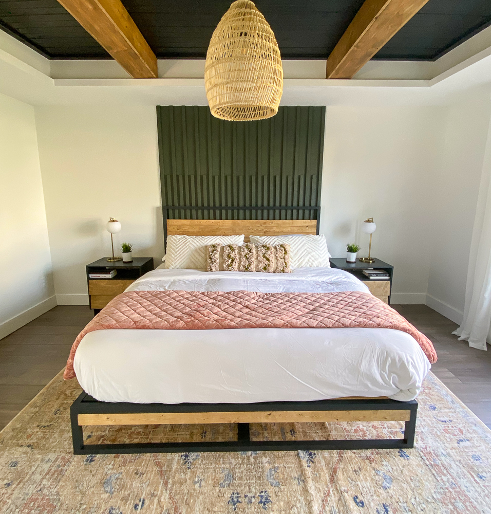 MCM master bedroom design with platform bed as the focal point