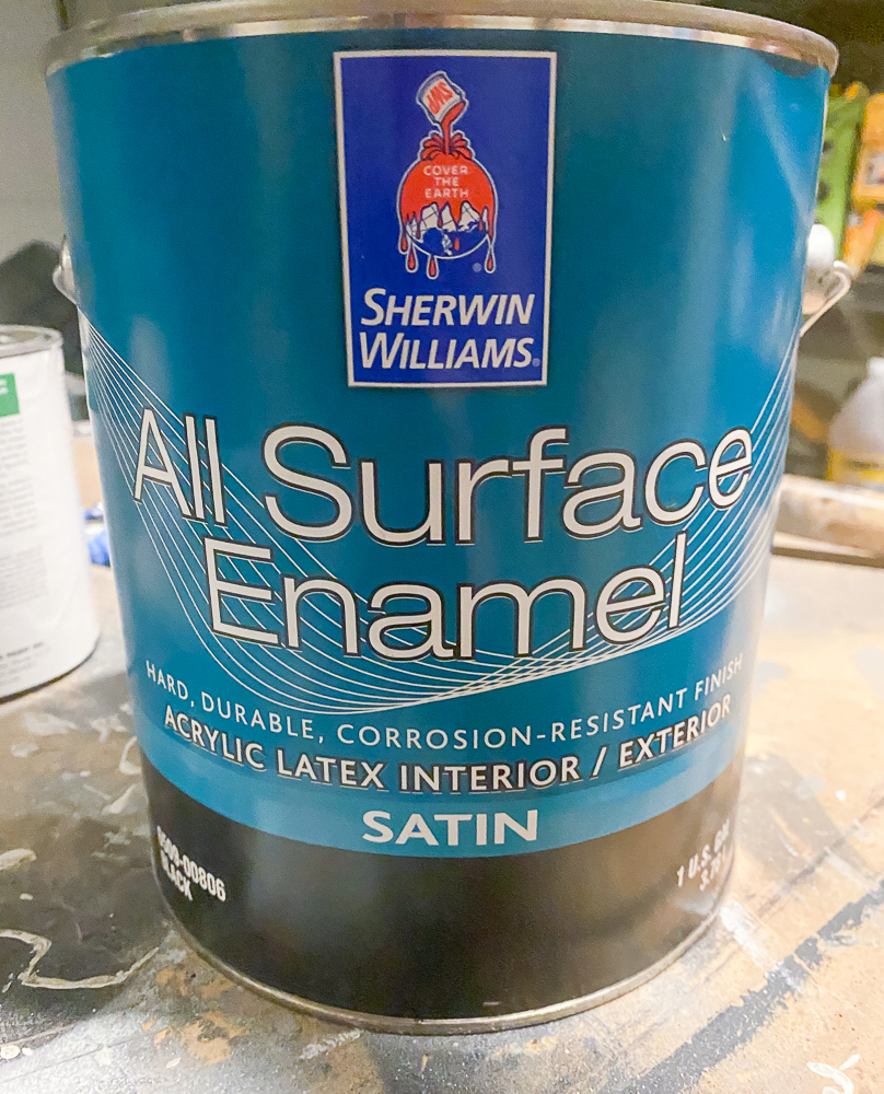 Sherwin Williams All Surface Enamel can of black paint for trim