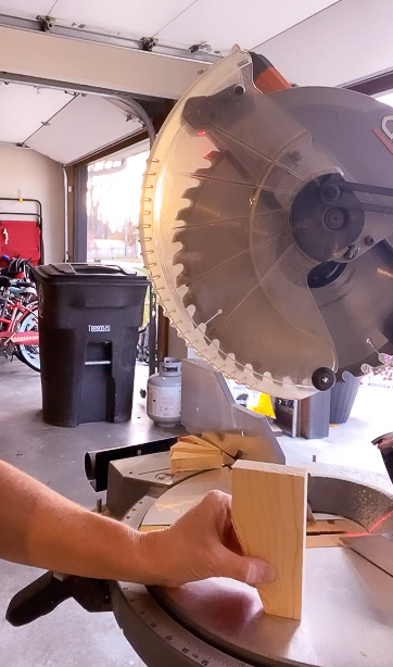 Miter saw cutting feet for nightstands