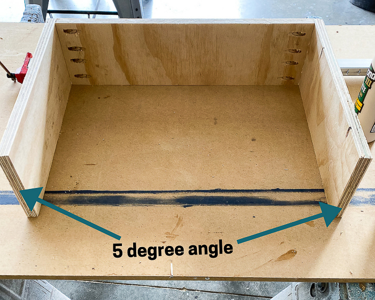 Drawer box with 5 degree angle pointed out