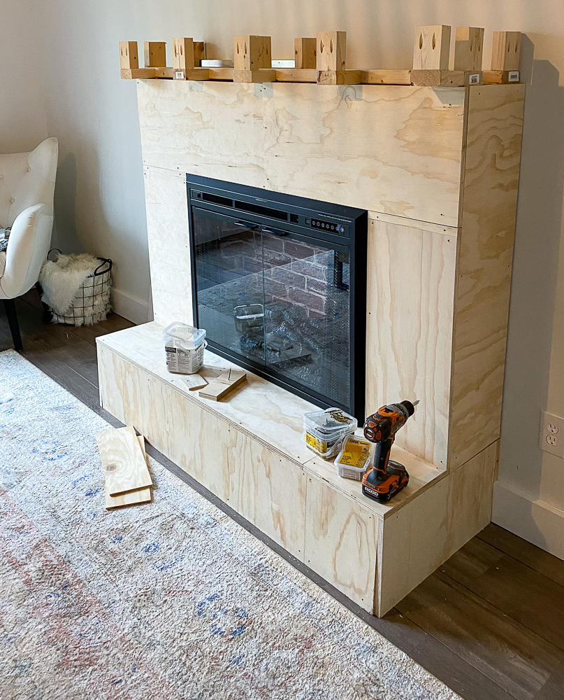 """3x4"""" plywood used to face fireplace hearth and mantel"""