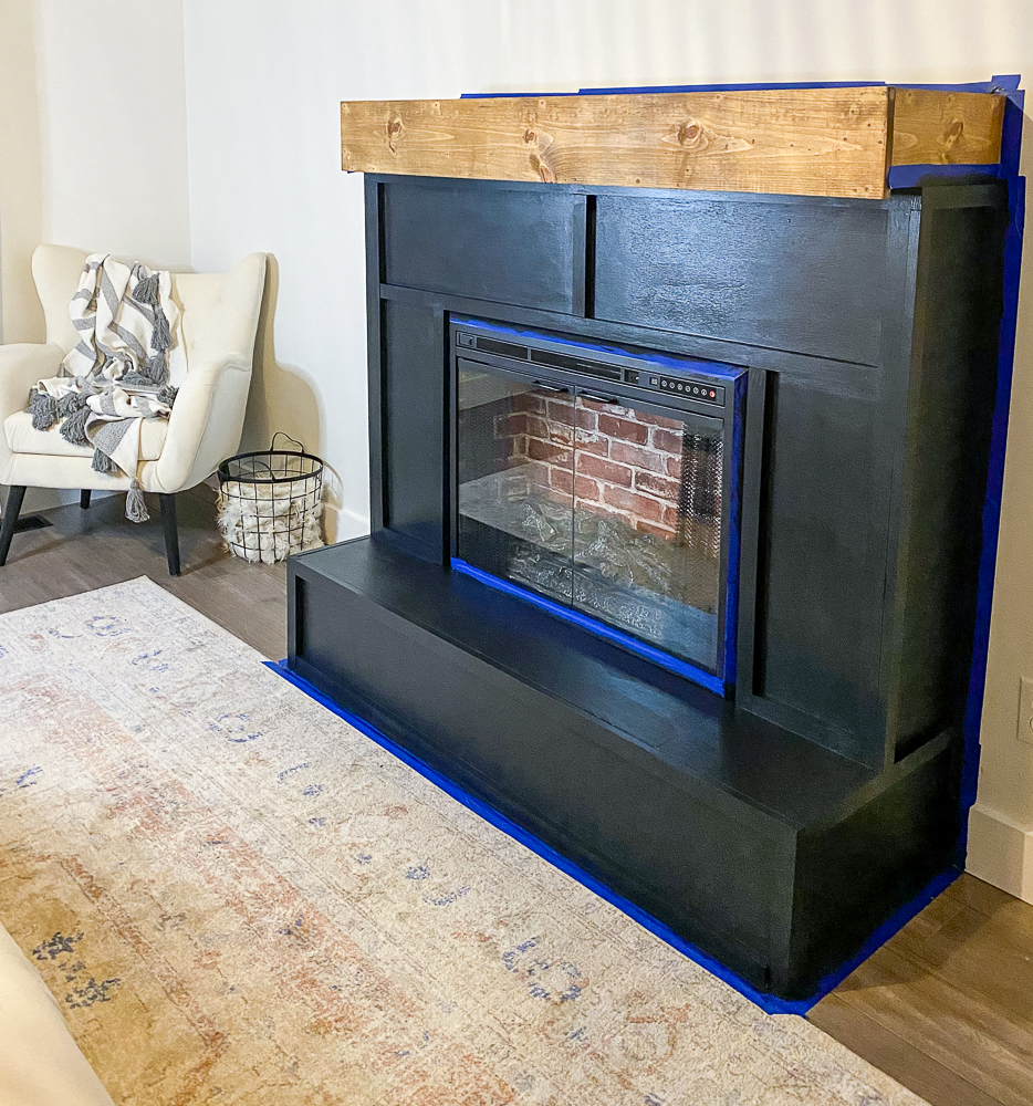 fireplace hearth and mantel painted/stained