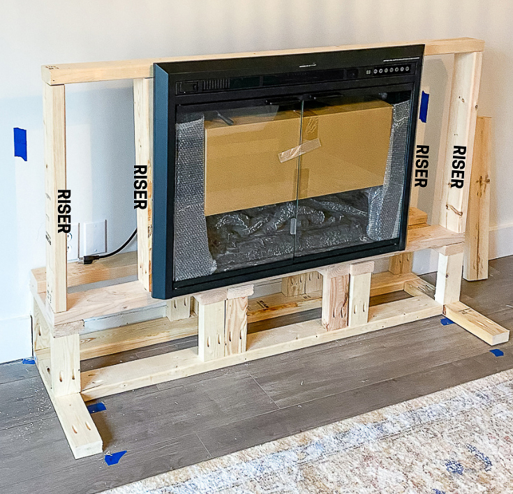 Risers pointed out for fireplace encasement