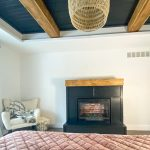 Electric fireplace surround in master bedroom