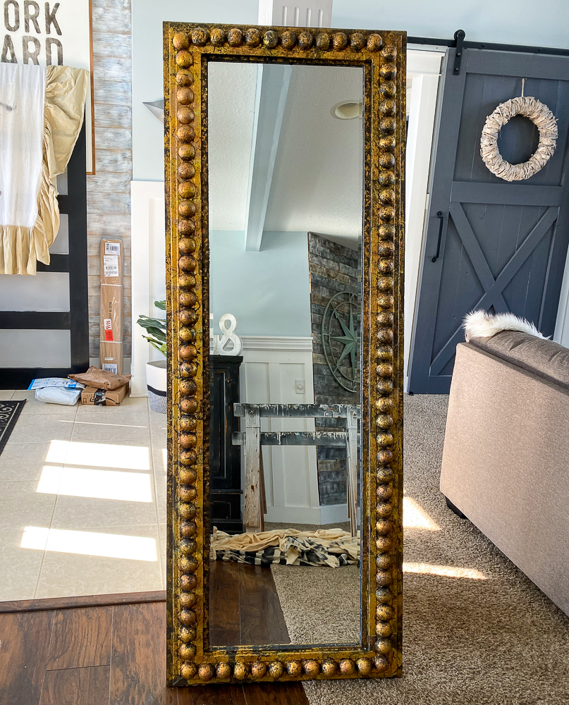 Full length mirror with gold edge standing