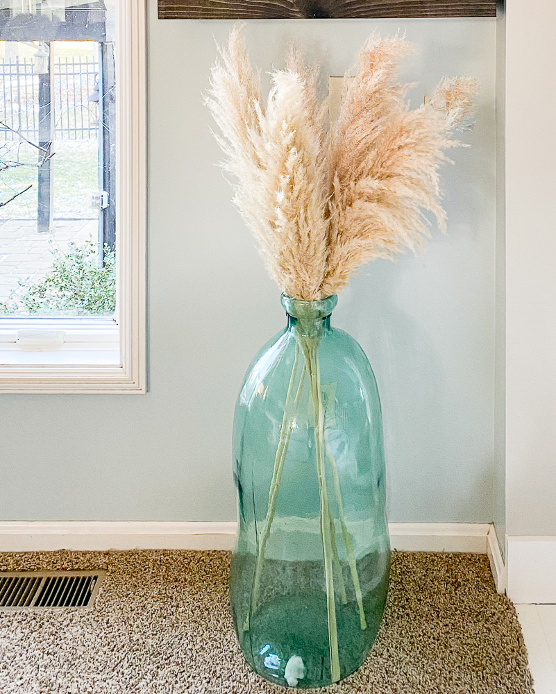 Large glass vase with pampas grass