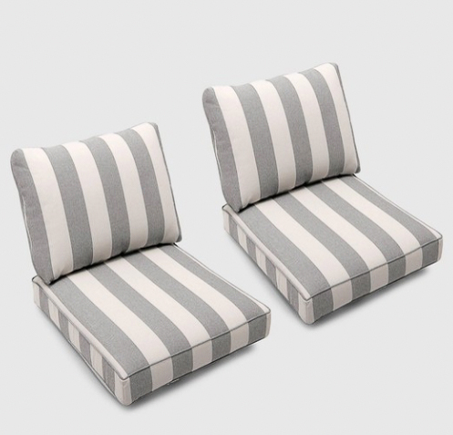 Loveseat outdoor cushions with gray and white stripes