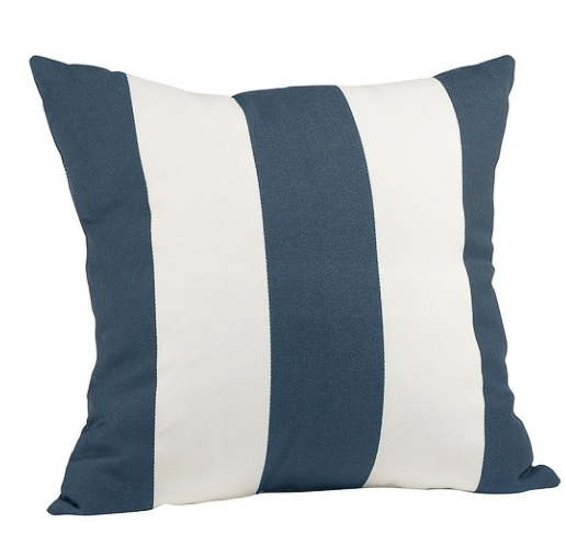 Indoor/outdoor pillow with navy and white stripes