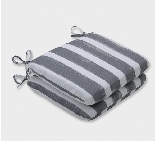 Gray and white striped outdoor cushions
