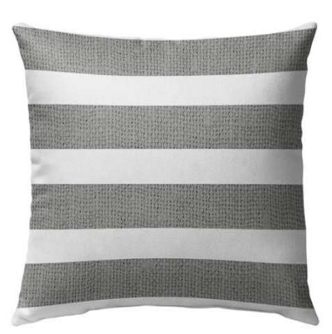 Gray and white striped outdoor pillow