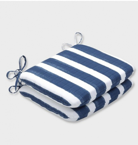 Outdoor cushions with ties. Blue and white striped