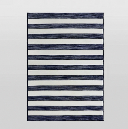 Outdoor rug; striped with navy and white lines