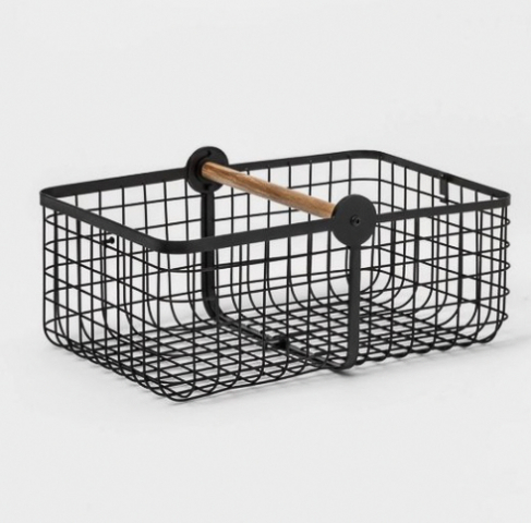2 in 1 wire basket with wood handle