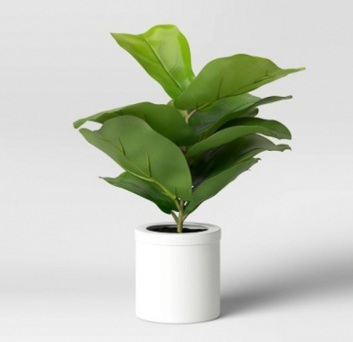 faux fiddle leaf plant in white planter