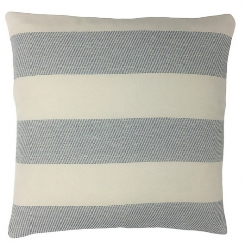 Blue and white striped outdoor pillow