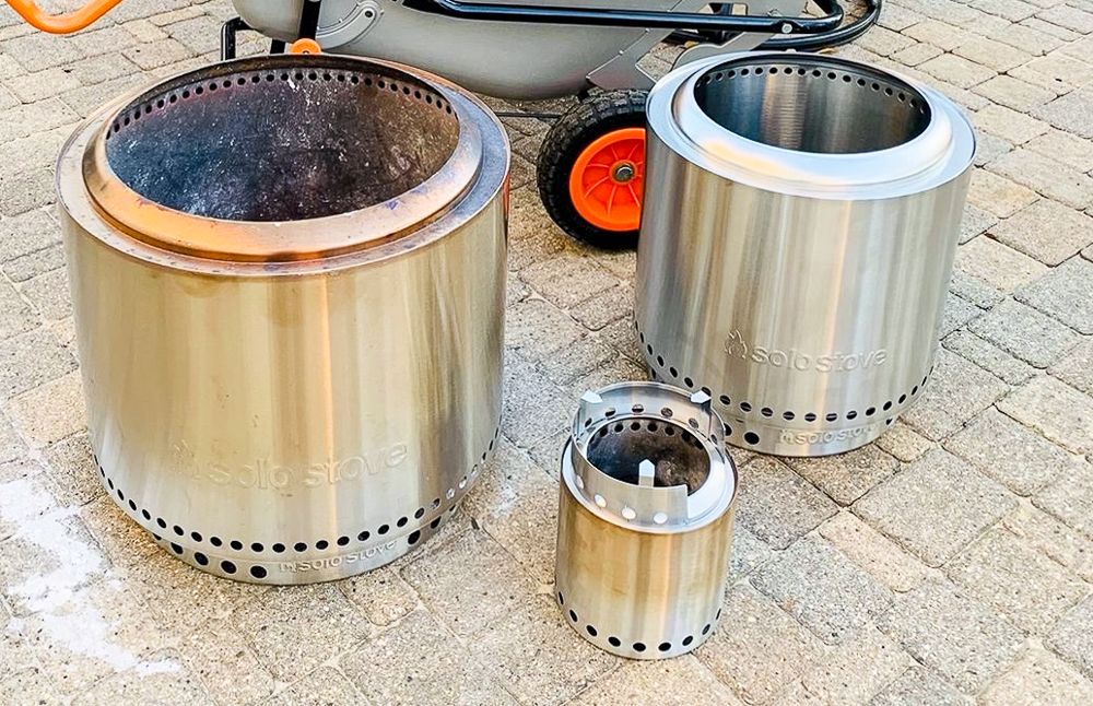 3 Solo Stove fire pits side by side. Small to large