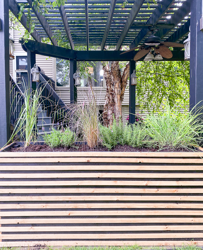 Tall backyard patio planter with herbs and plants
