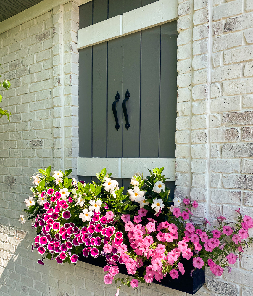 Faux window with a flower box and pink and white flowers