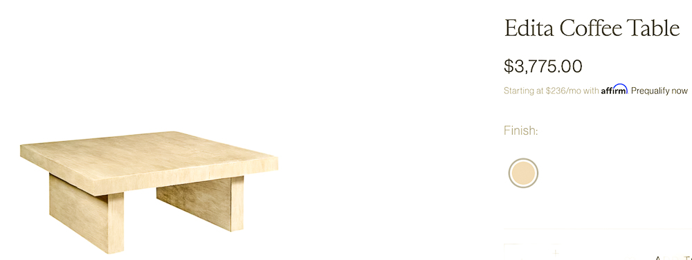 McGee and Co coffee table with consumer price