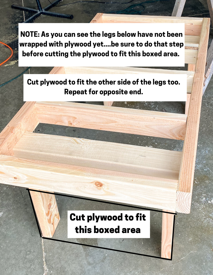 Notations made on where to add plywood to coffee table legs