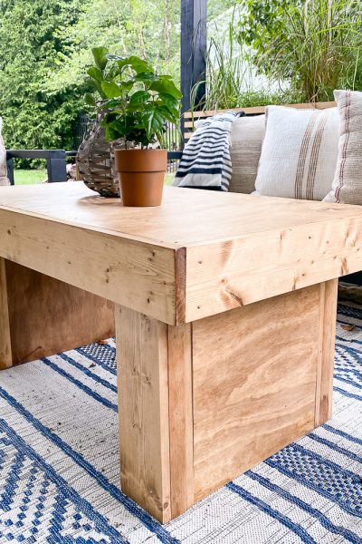 DIY coffee table made of pine wood and stained Golden Oak