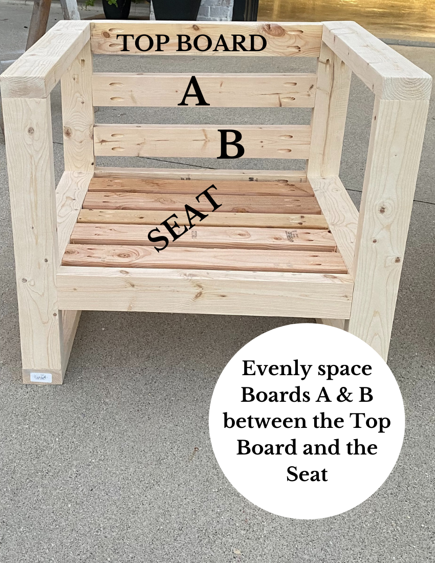 wooden chair with markings of where to place boards